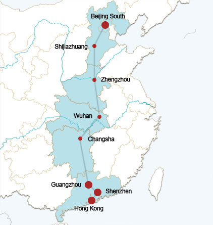 Beijing-Hongkong High Speed Rail Route