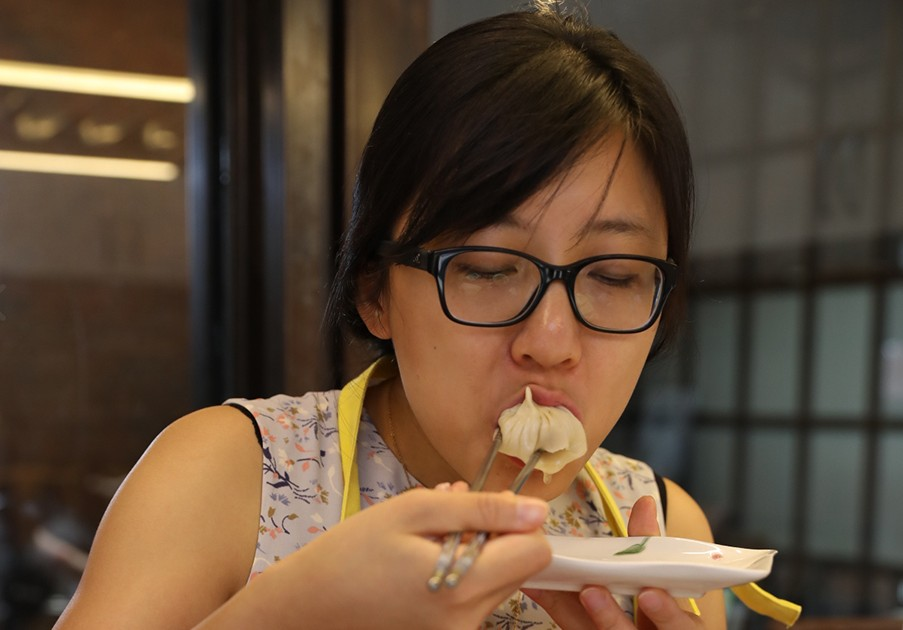 Eating your hand-made xiaolongbao