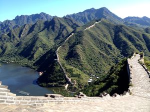 the summer scenery of the Great Wall at Huanghuacheng Section
