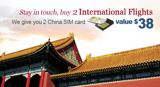Buy 2 international flights and get 2 SIM card for free!