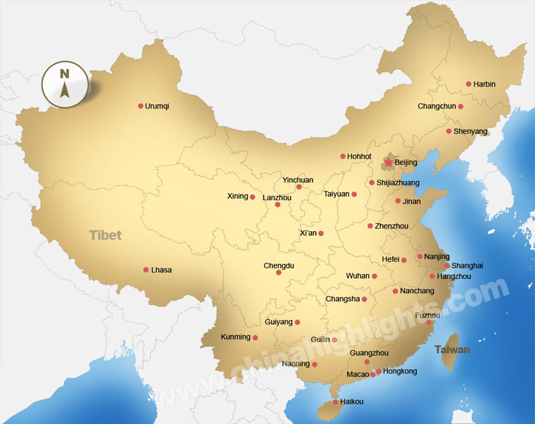 China Map, Maps of China's Top Regions, Chinese Cities and ... MAP OF CHINA