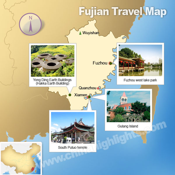 Fujian Map Map of Fujians Tourist Attractions – Tourist Attractions Map In China