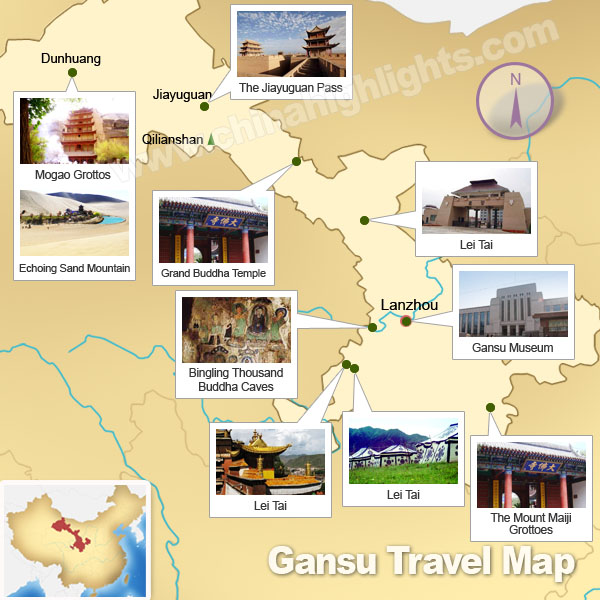 Gansu Map Map of Gansus Tourist Attractions and Cities – Beijing Tourist Attractions Map