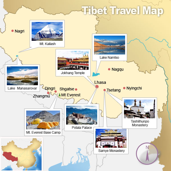 Tibet Attractions Map