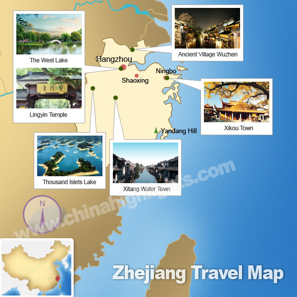 Zhejiang Attractions Map