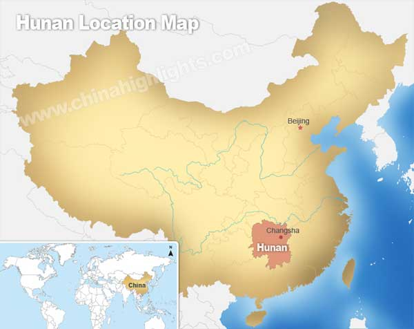 Hunan Location Map