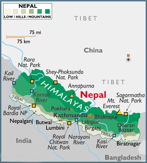 Map of Himalayas in Nepal. Click to enlarge