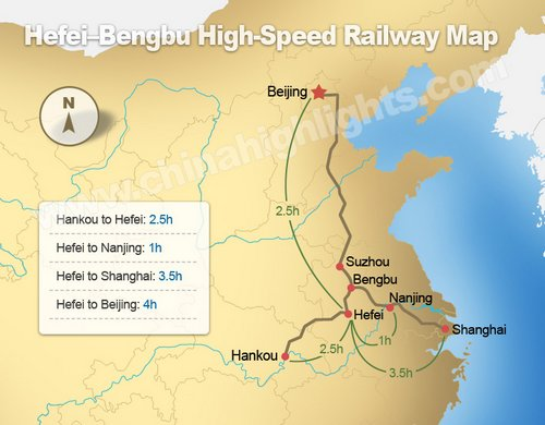 Hefei-Bengbu High-Speed Railway Map