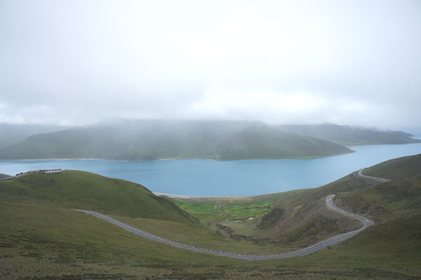 Yamdrok Lake in rain