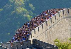 Huge crowds on the Great Wall of China during China's National Holiday