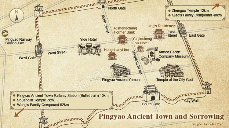 Map of Pingyao Ancient Town