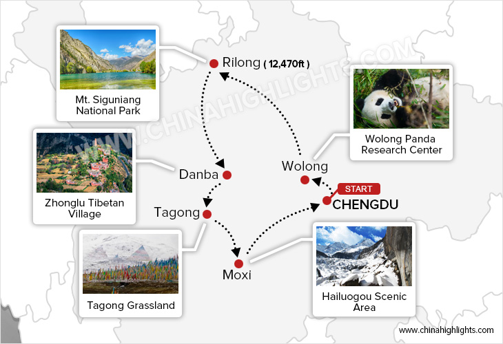 A Golden Circle for Diverse Landscapes and the Tibetan Culture tour map