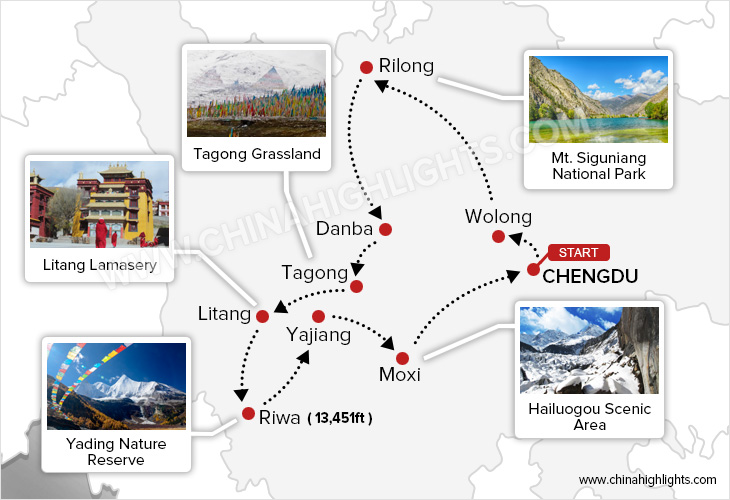 An In-Dept Exploration of Western Sichuan tour map