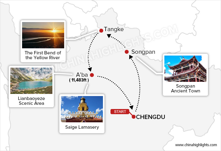 Discover the Mysterious Tibetan Area of Northern Sichuan tour map