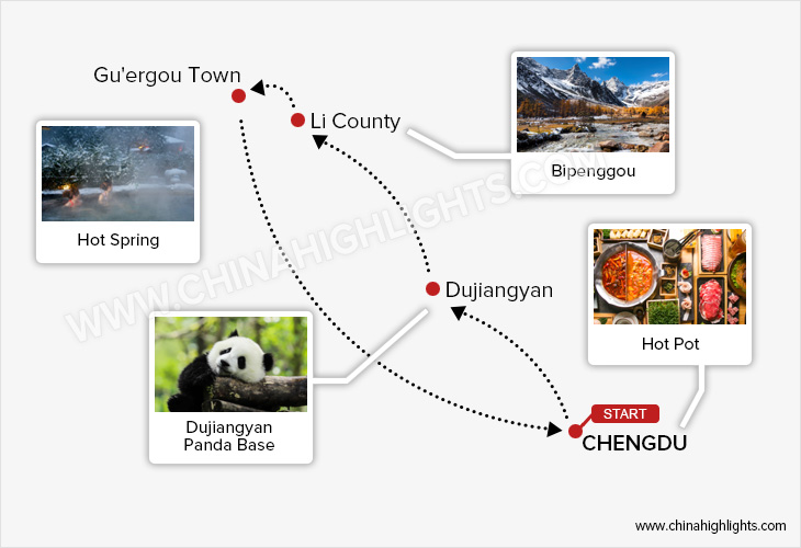 Map for Chengdu and Bipenggou Tour