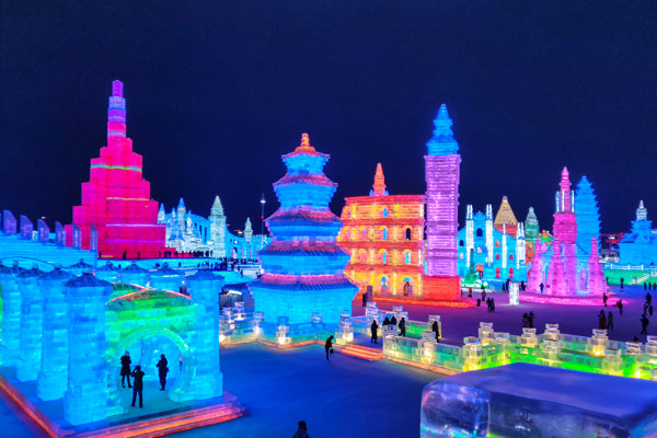 colorful Ice sculptures