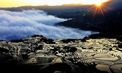 the sunrise at Yuanyang Terraced Fields