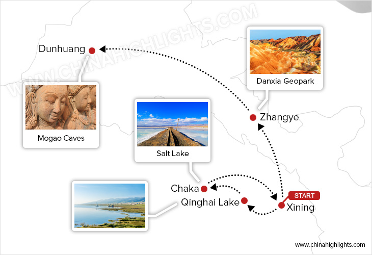 Miraculous Qinghai and Legendary Silk Road Tour map