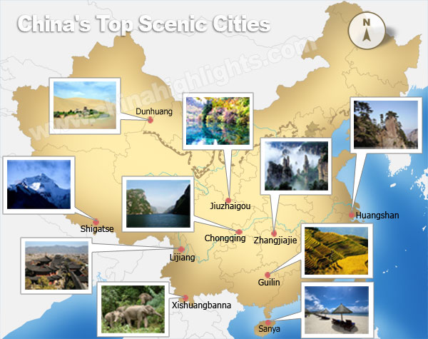China top scenic cities map