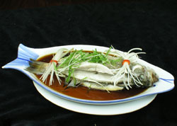 Broth-Steamed Bass