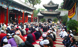 Muslim celebreting the Fast-Breaking Festival in Niujie Mosque in Beijin